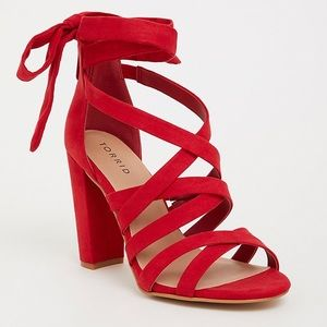 TORRID RED STRAPPY LACE-UP HEEL